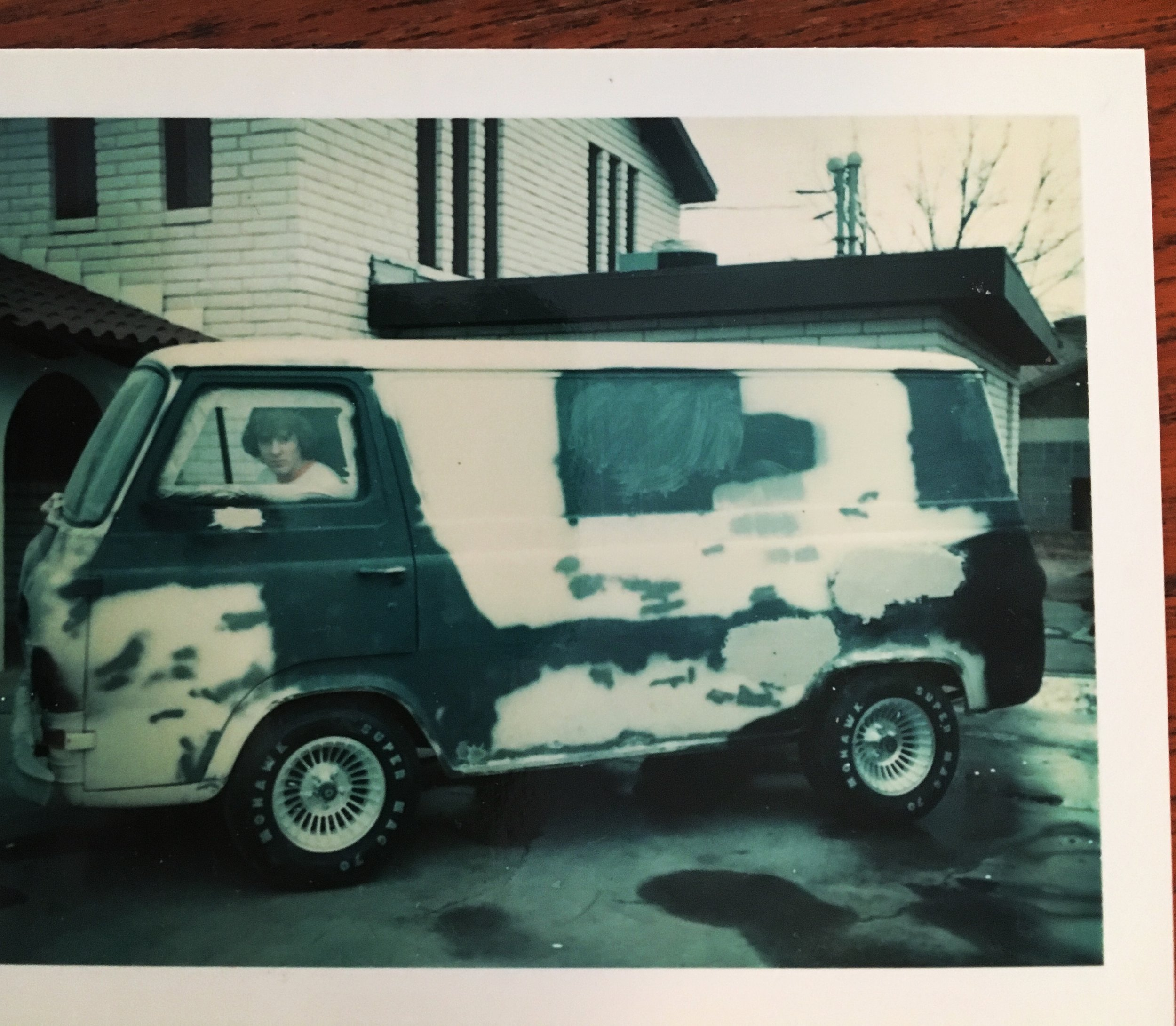 January 1977, Odessa, Texas.. This 1963 Ford Econoline was my passion. Purchased for $75., it had spent its life as a barbeque catering truck. The wheels and tires were a Christmas present from my parents (interestingly, December is a bad month for mags and tires and they were on sale!)