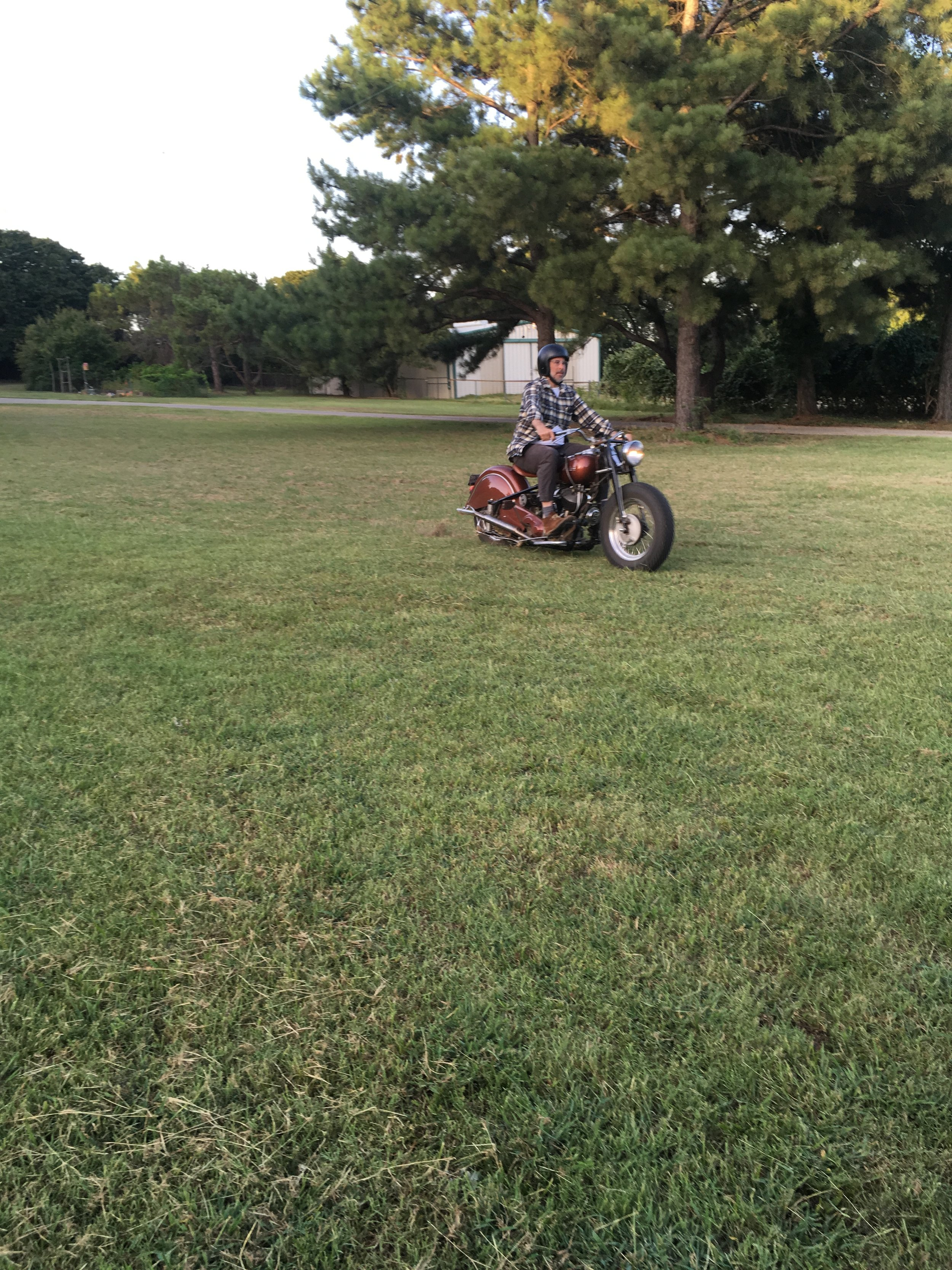 Jason giving the '48 some hot laps on the grass. Even with knobbies, grass can be a little unpredictable.