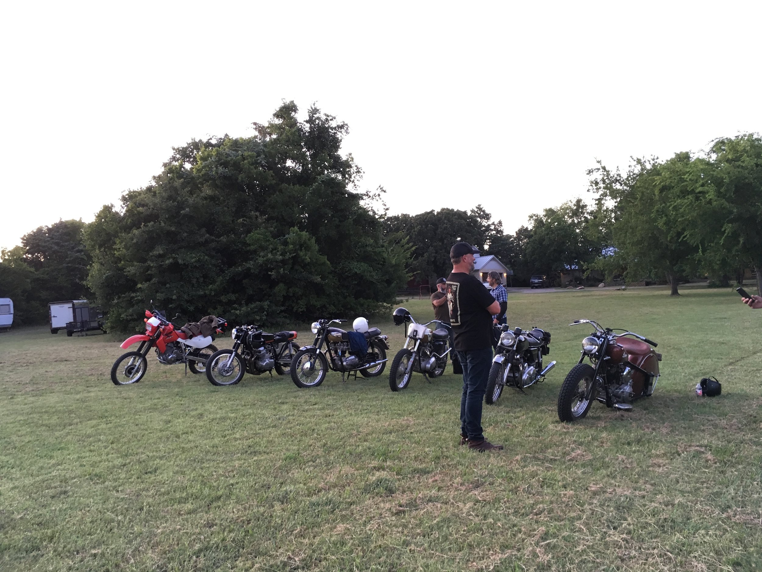 John Green surveying the bikes after our ride.