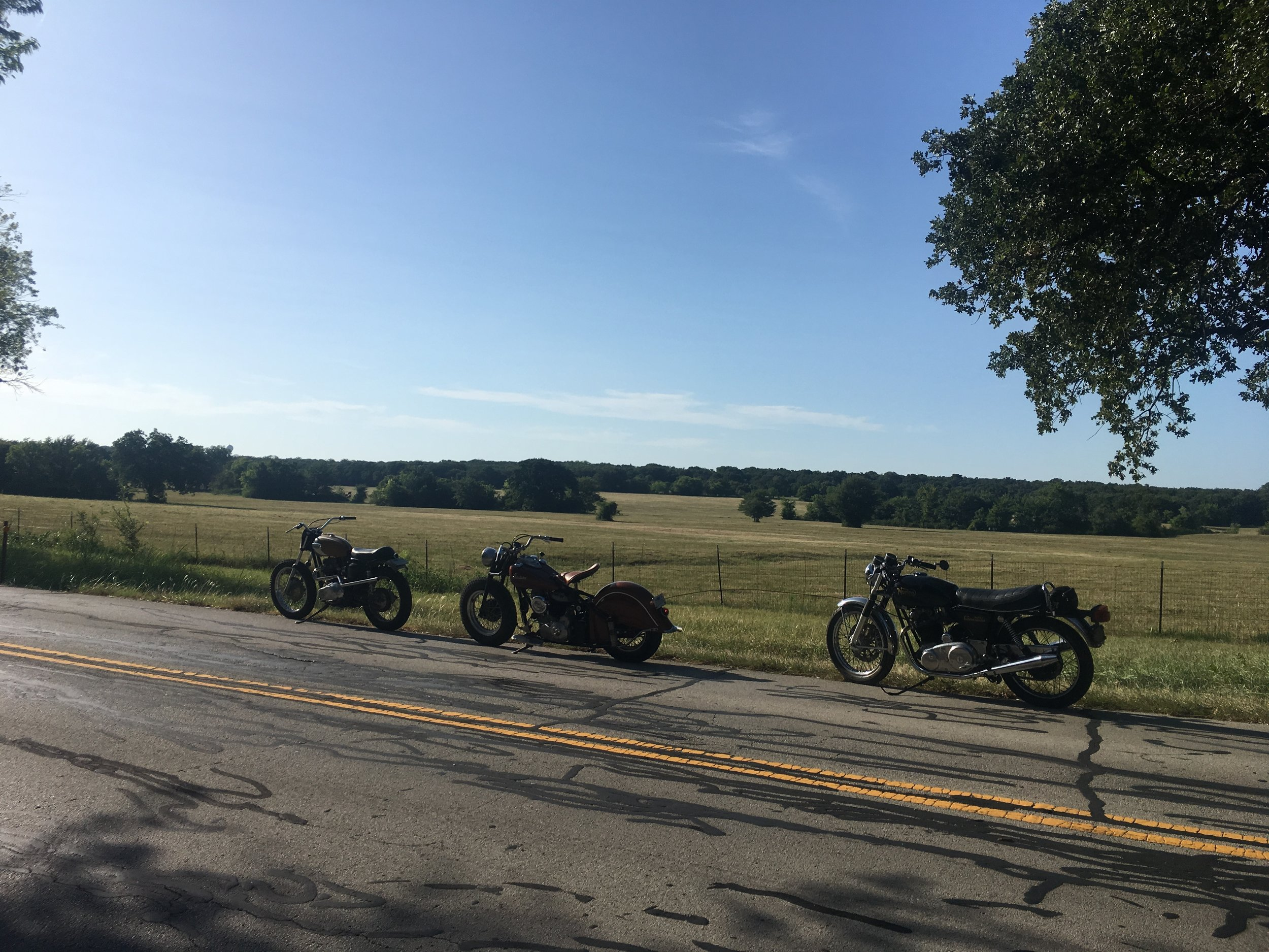 Goldie. the '48 Indian, and the '74 Commando on the roadside in Argyle, Texas.