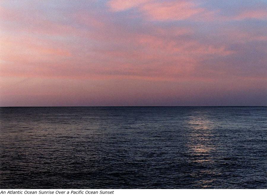 An Atlantic Ocean Sunrise Sky over a Pacific Ocean Sunset with title.jpg