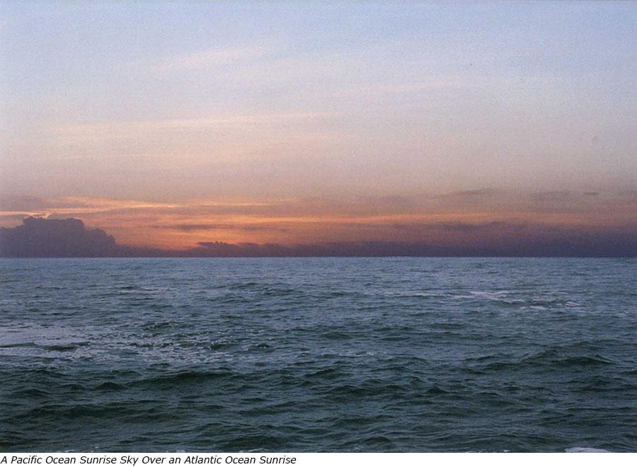 A Pacific Ocean Sunrise Sky over an Atlantic Ocean Sunrise with title.jpg