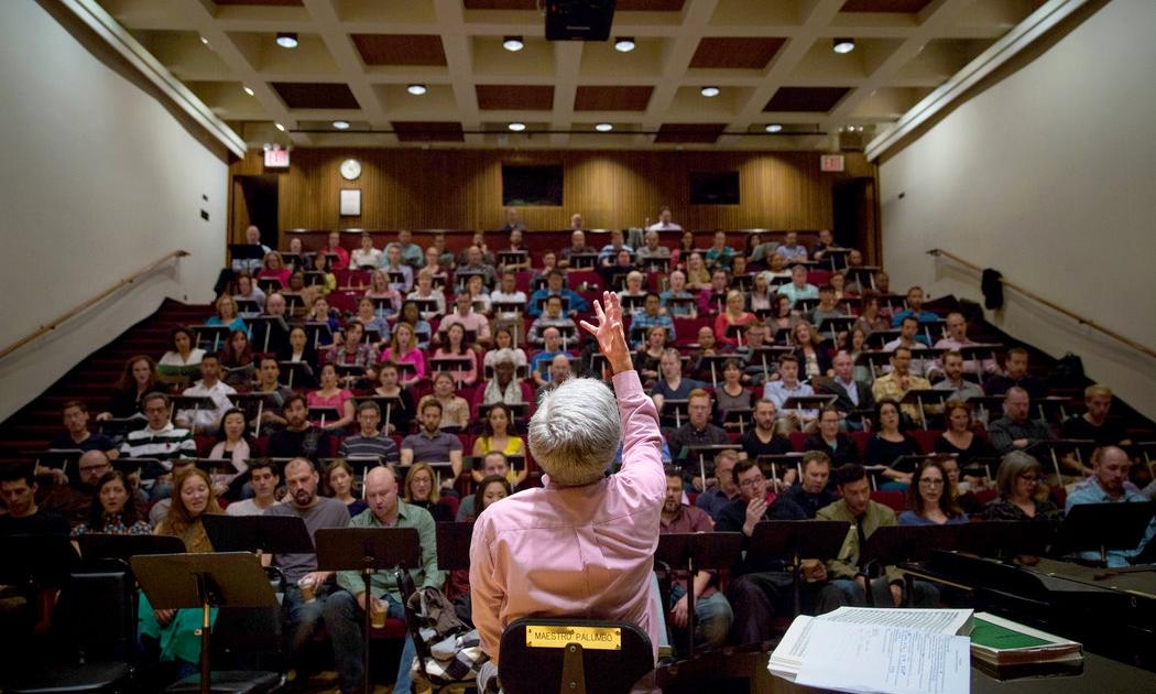 Maestro Palumbo, rehearsing about 150 singers for  Die Meistersingers von Nurnburg. Damon Winter/ New York Times