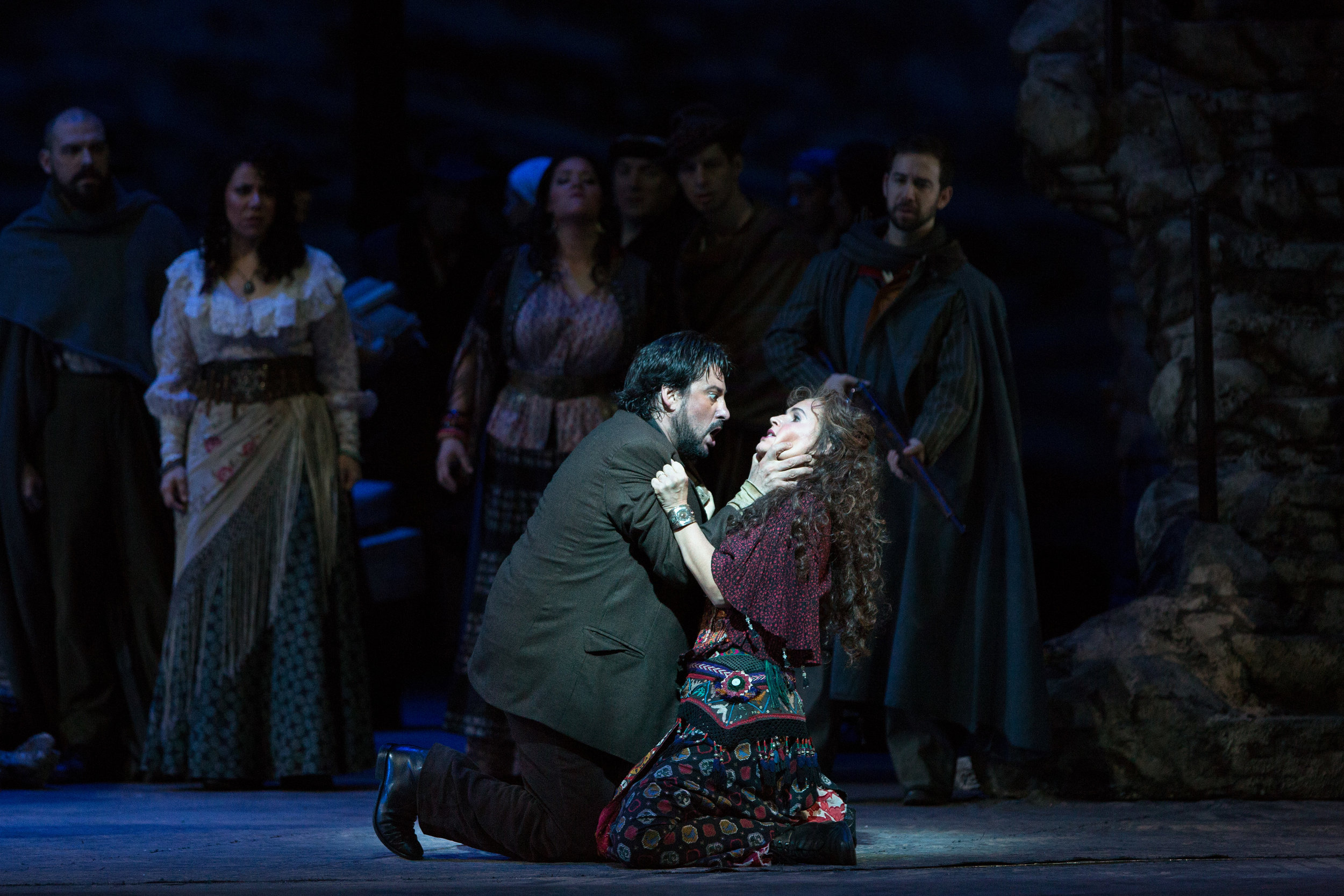 Marcelo Álvarez as Don José and Sophie Koch in the title role of Bizet's   Carmen  . Photo by Marty Sohl/Metropolitan Opera.