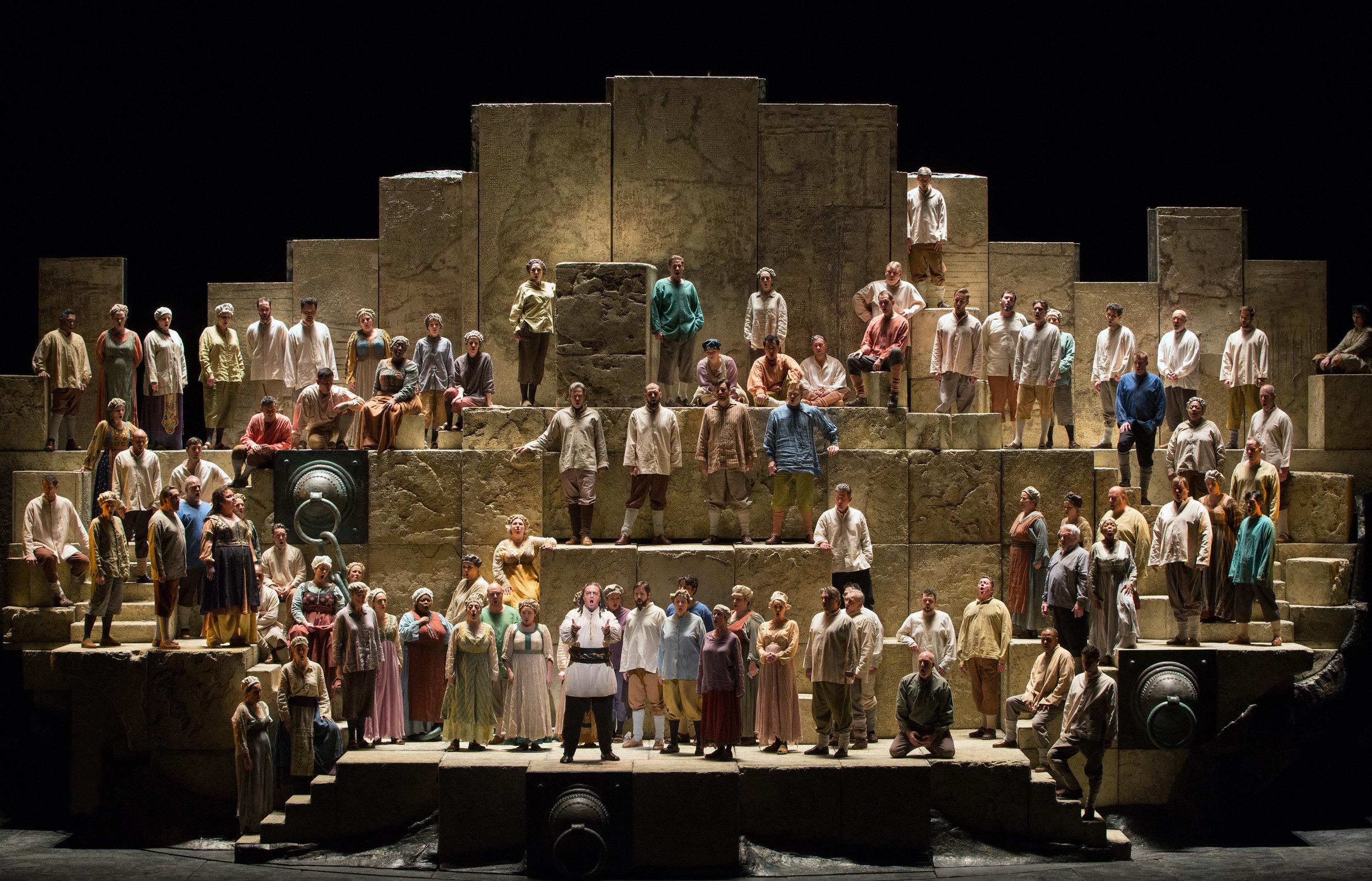 "A scene from Verdi's ""Nabucco"". Photo by Marty Sohl/Metropolitan Opera."