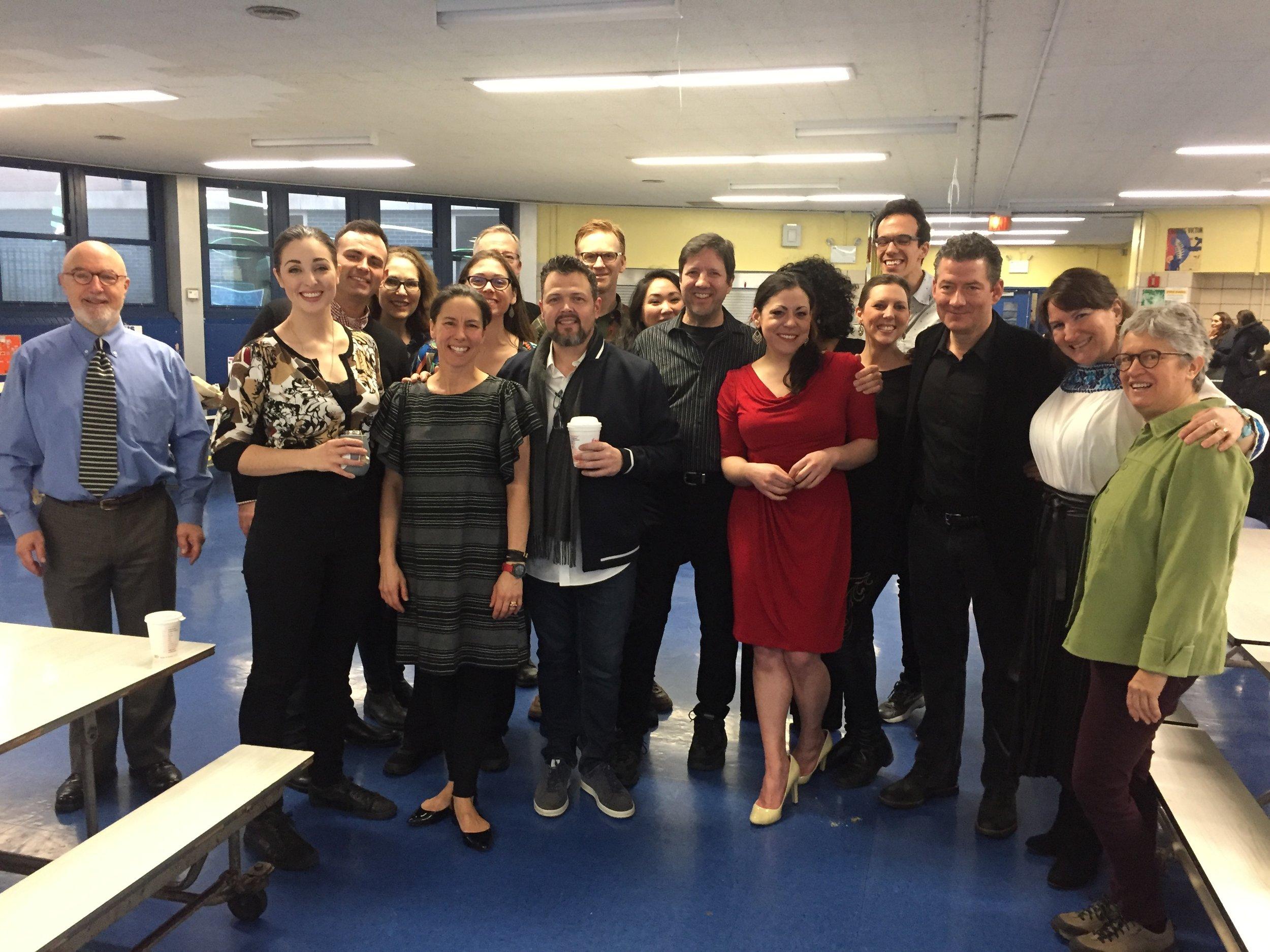 Members of the Met Opera Chorus with teachers from Castle Bridge Elementary School.