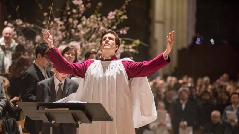 Bryan conducting the combined choirs at St. John the Divine's 2018 Easter service.