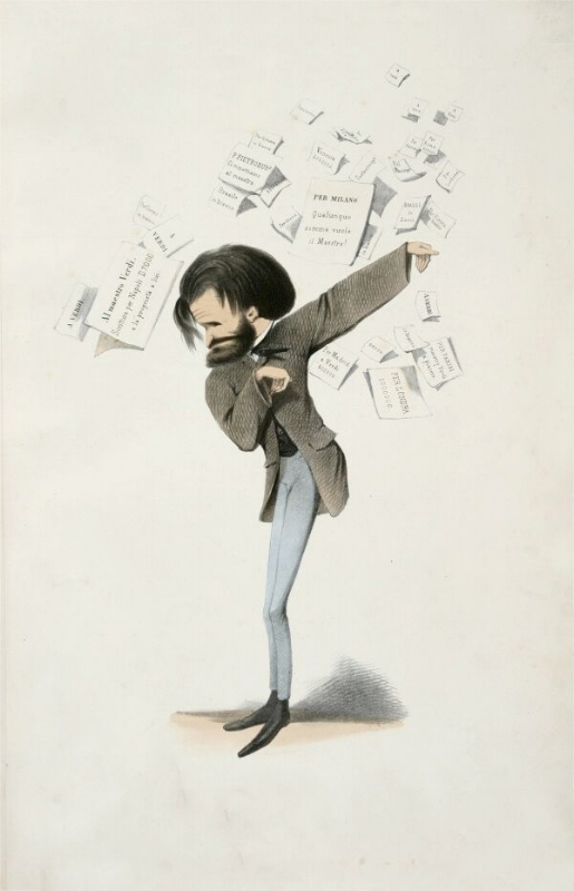An 1860 caricature of Verdi by Melchiorre Delfico.