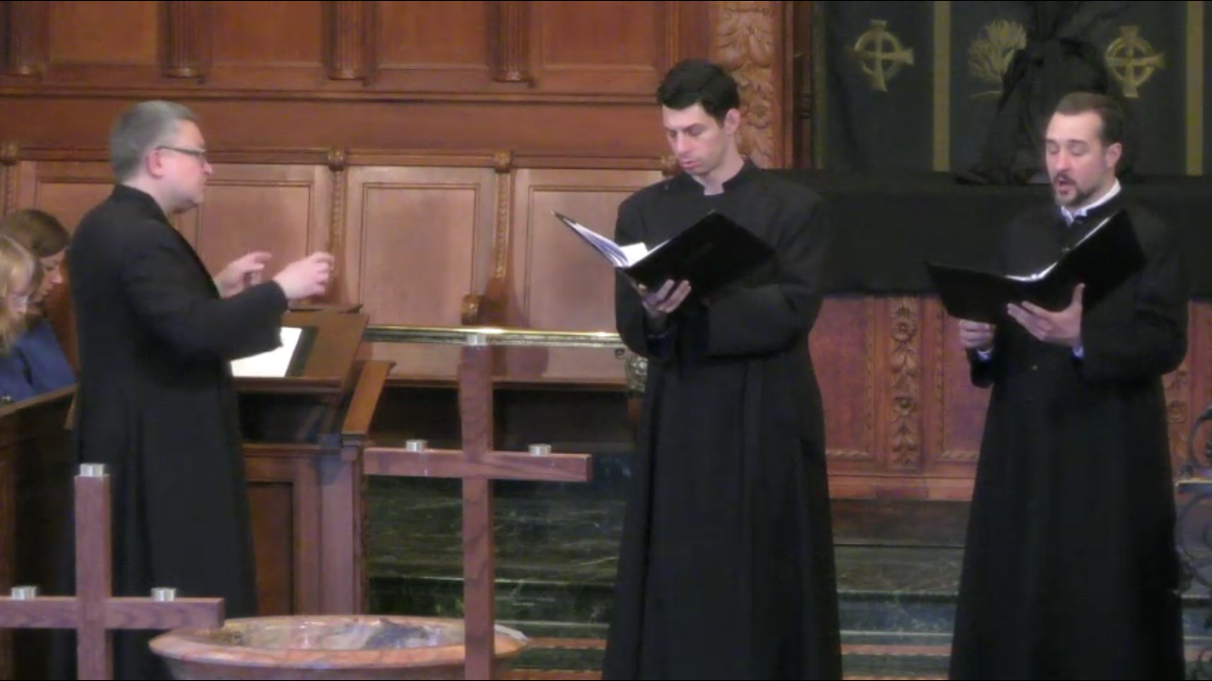 Ned Hanlon (left) and Jeremy Little (right), soloing at Brick Presbyterian Church in John Stainer's Crucifixion Mass.
