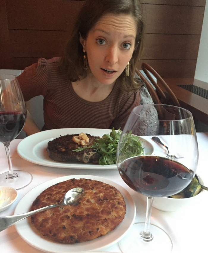 Lianne marveling at the size of her steak.