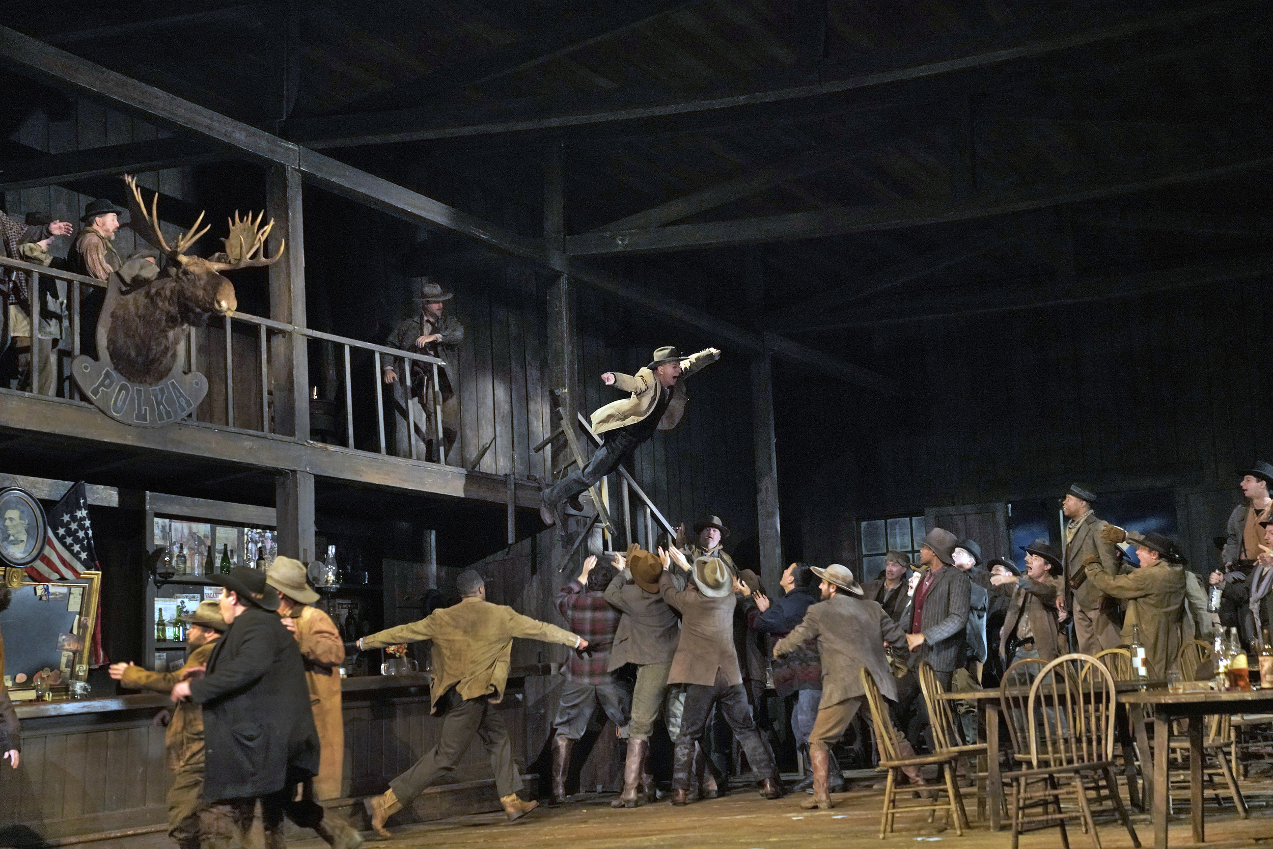 Frank flinging himself from the rafters in Fanciulla del West. (Photo: Ken Howard)