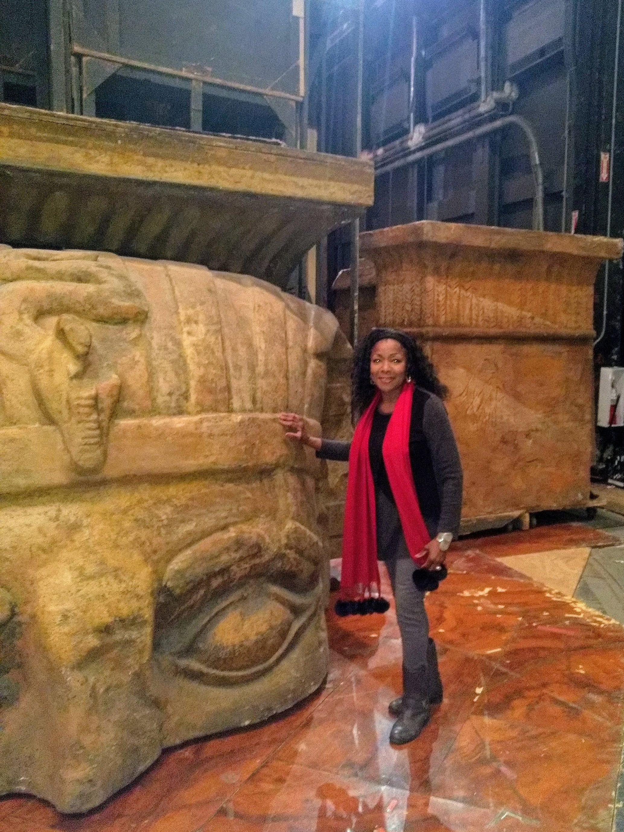 Annette Spann Lewis and one of the many giant Aida set pieces.