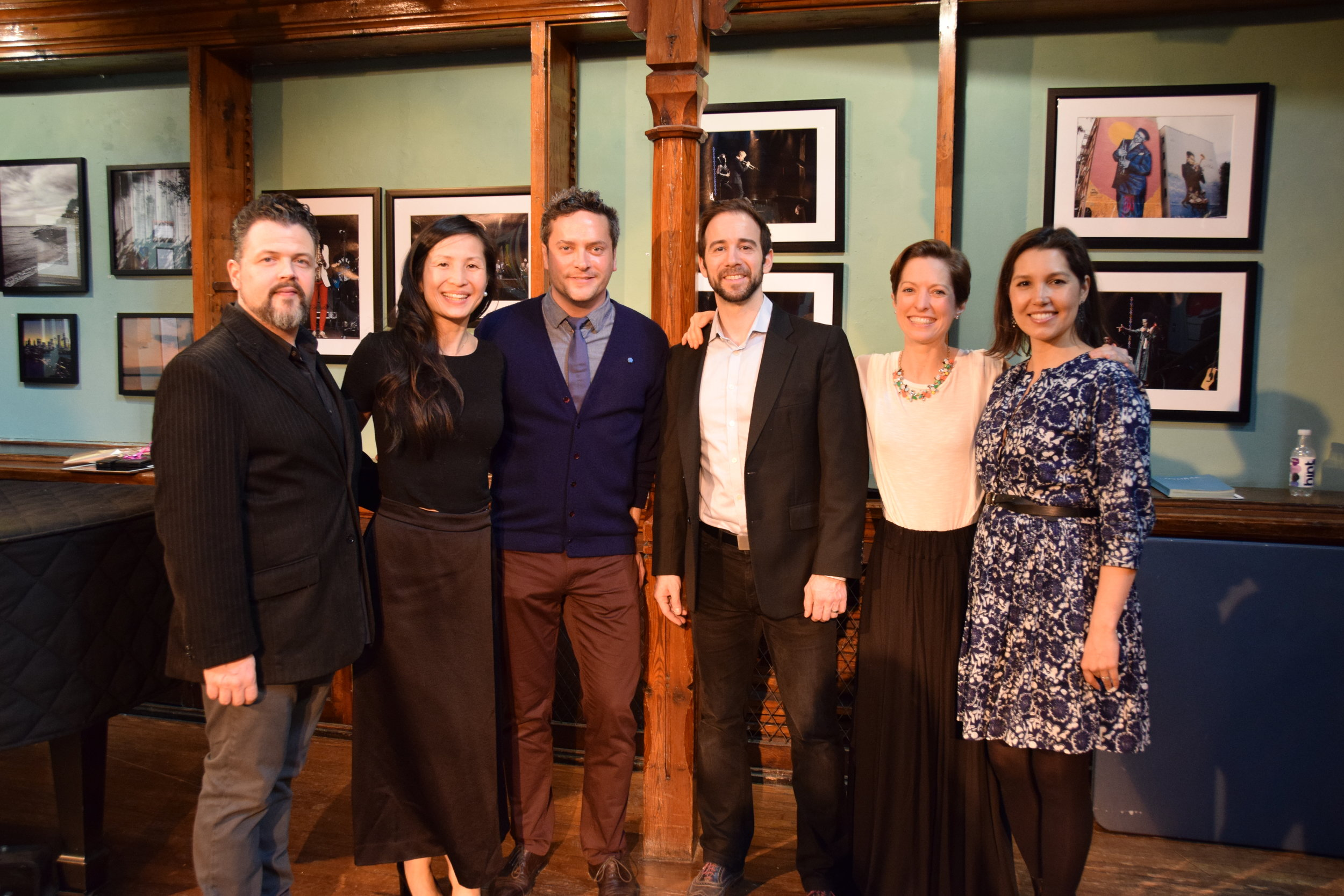 The gang's all here: from L to R, Greg Warren, Carol Wong (accompanist), Nathan Carlisle, Ross Benoliel, Lianne Coble-Dispensa, and Sara Heaton.