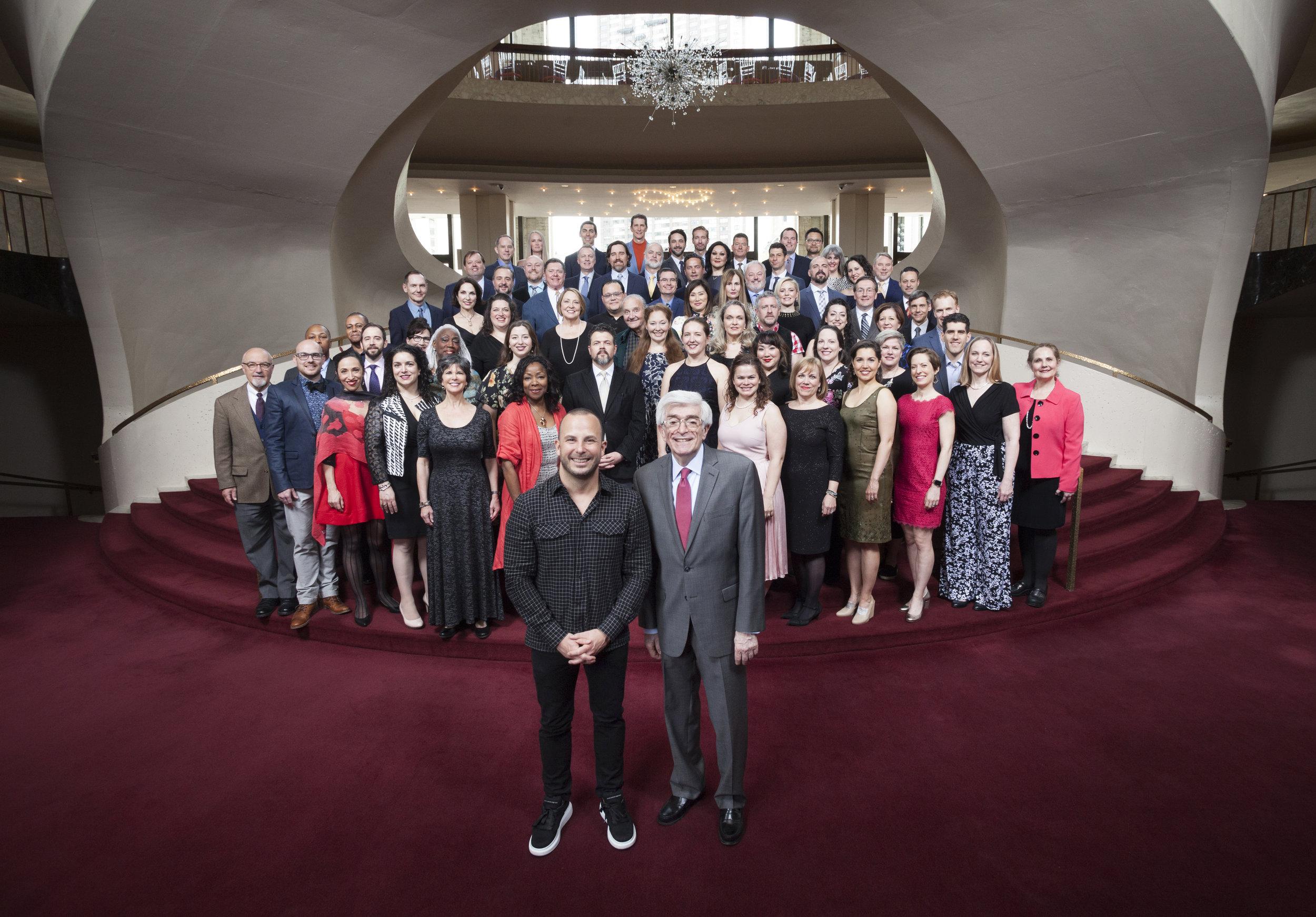 The Metropolitan Opera Chorus, Music Director Yannick Nézet-Séguin, and Chorus Master Donald Palumbo. Photo: Rose Callahan / Met Opera