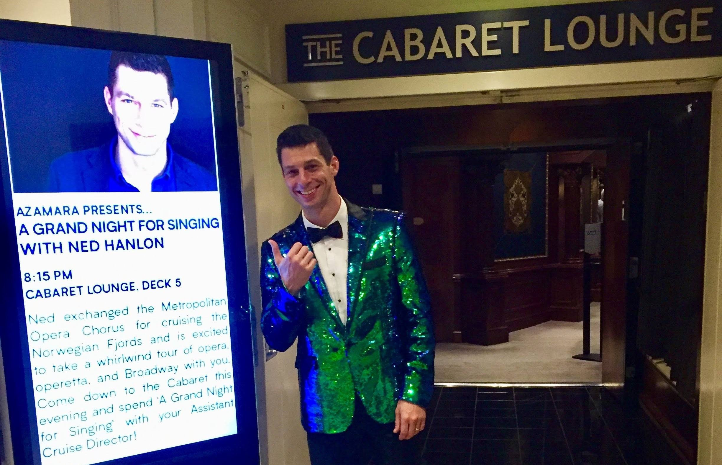 Safety Advisory: do not look directly at the green sequin tuxedo jacket. Blindness may occur.