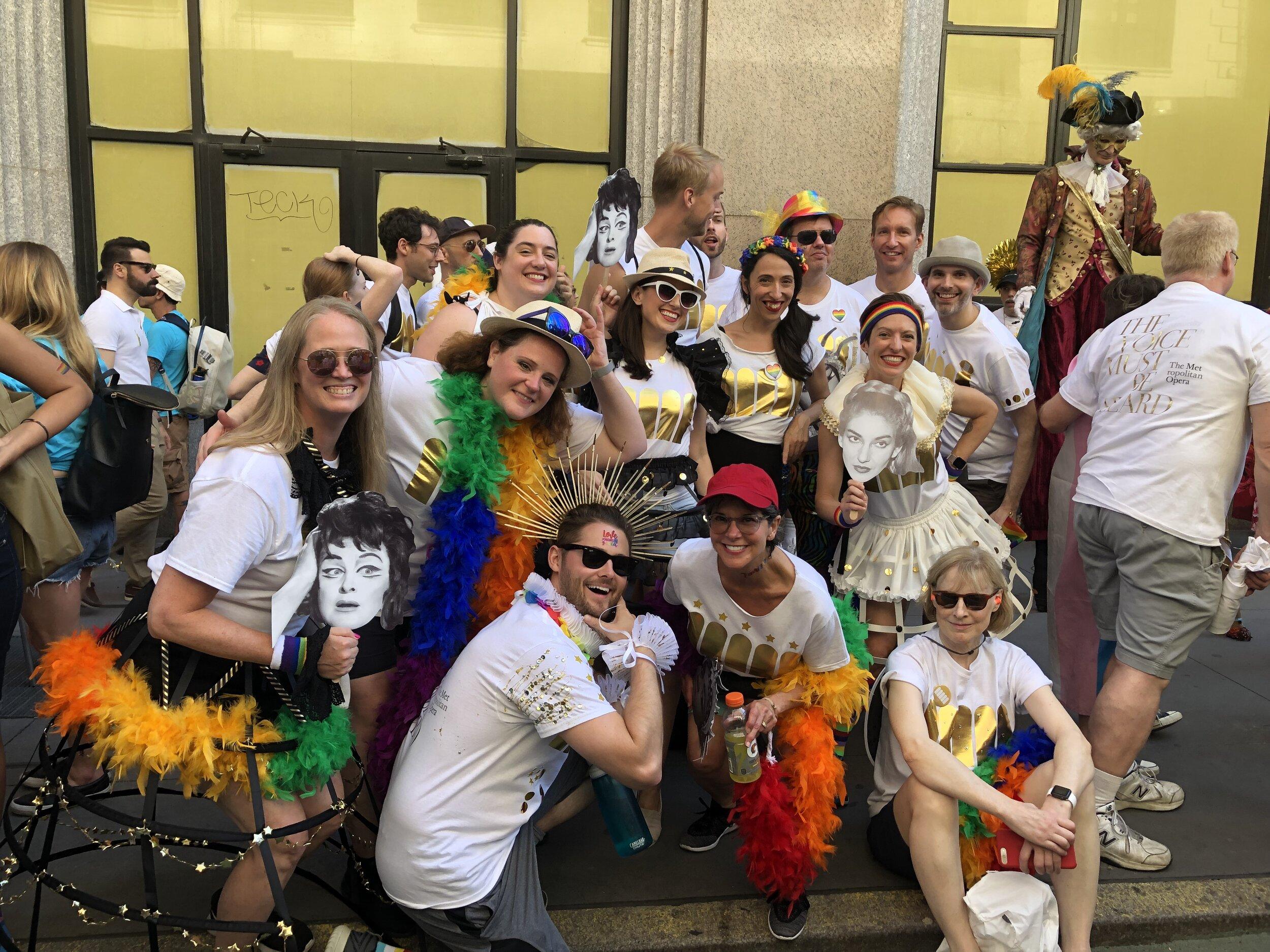 A flock of Met chorus members thoroughly enjoying Pride!