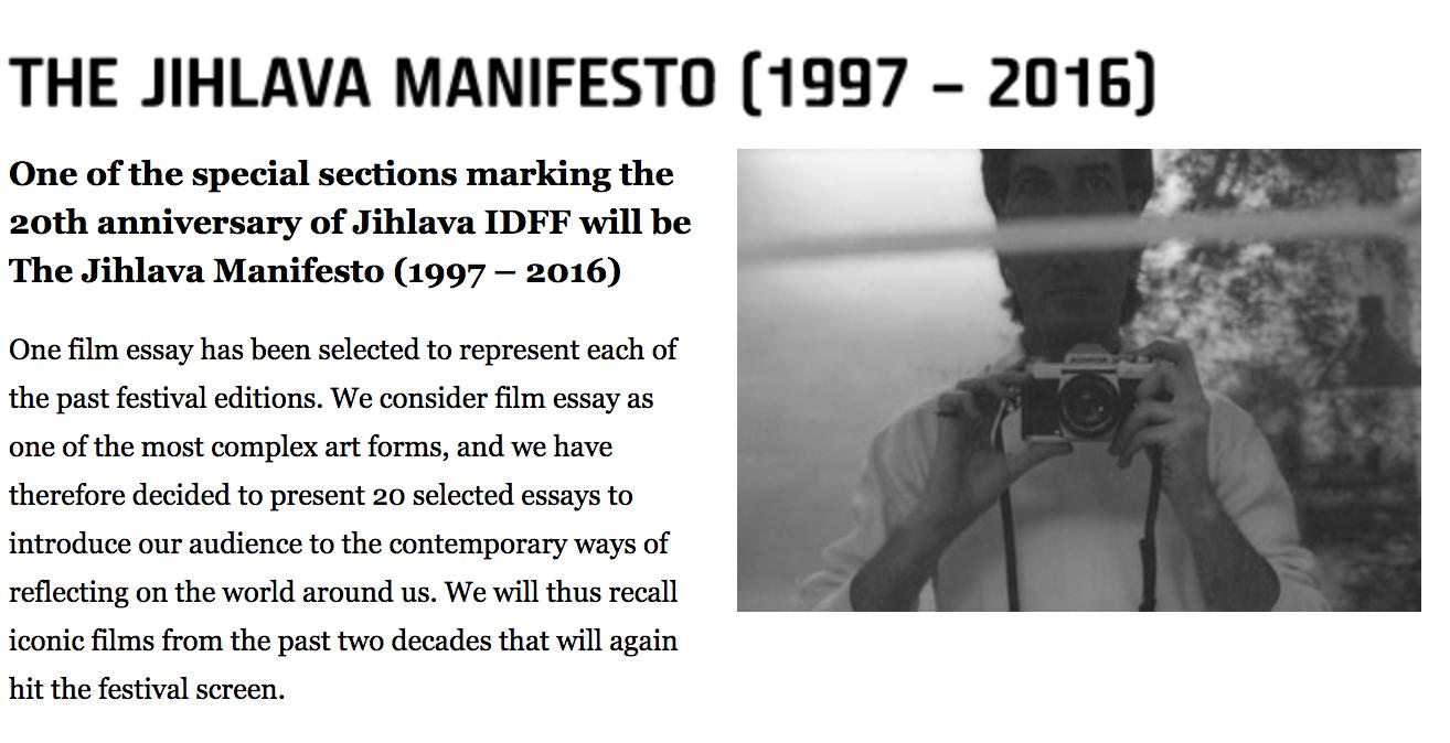 Touch , The Jihlava Manifesto (1997-2016) Jihlava International Documentary Festival, October 25 - 30th