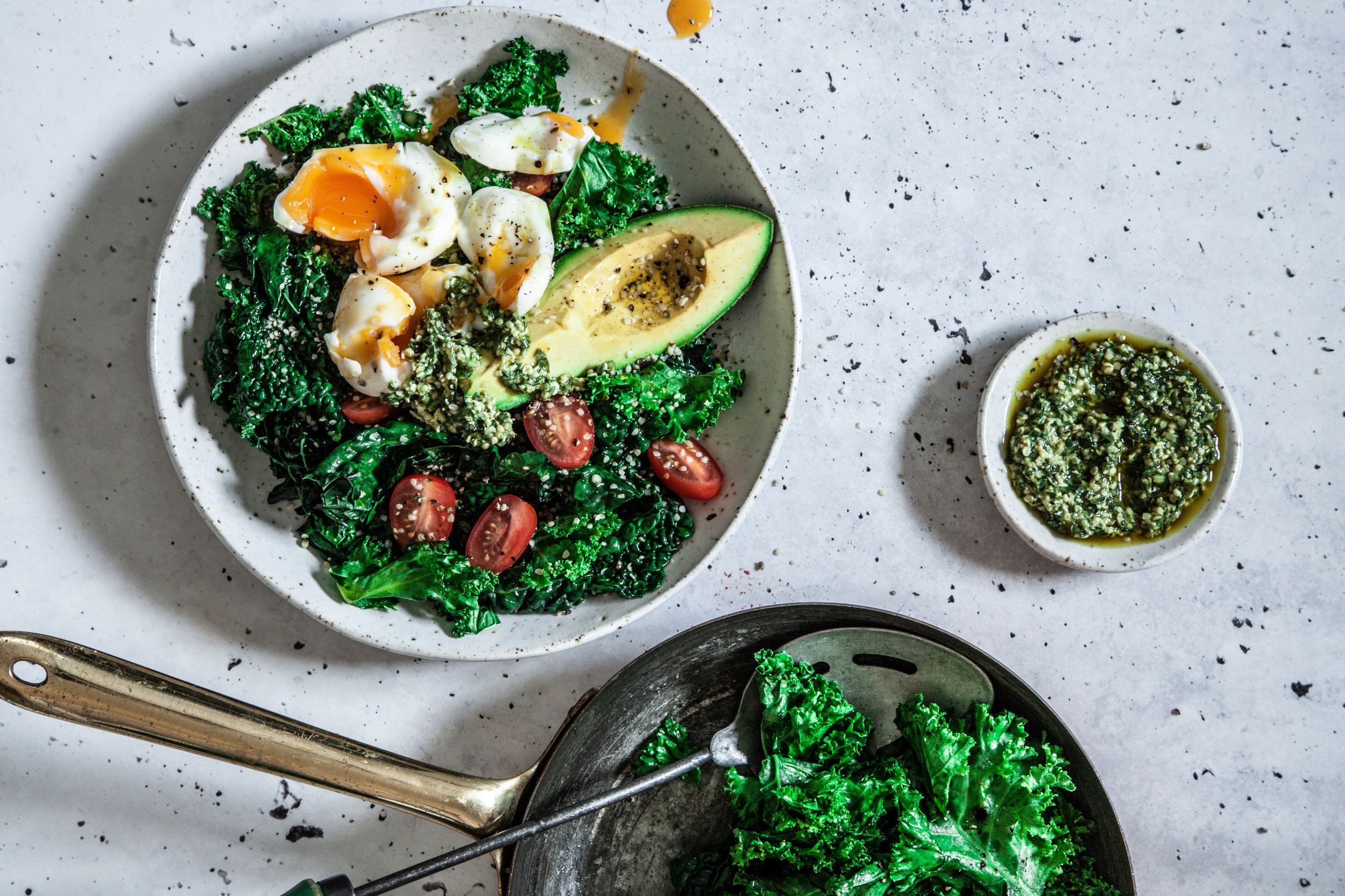 Sauteed kale, poached eggs and hemp seed pesto from Made