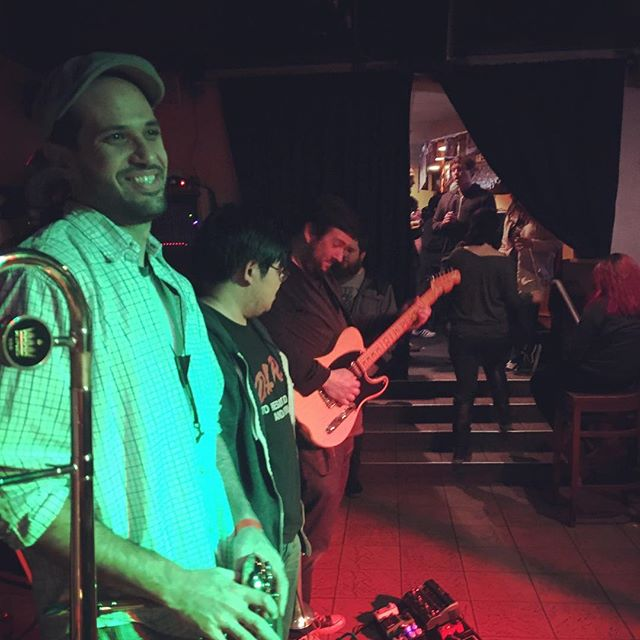@jamiefrank3 soloing, Elie looks happy 😄 #soundmakersunion #guitar #sax #trumpet