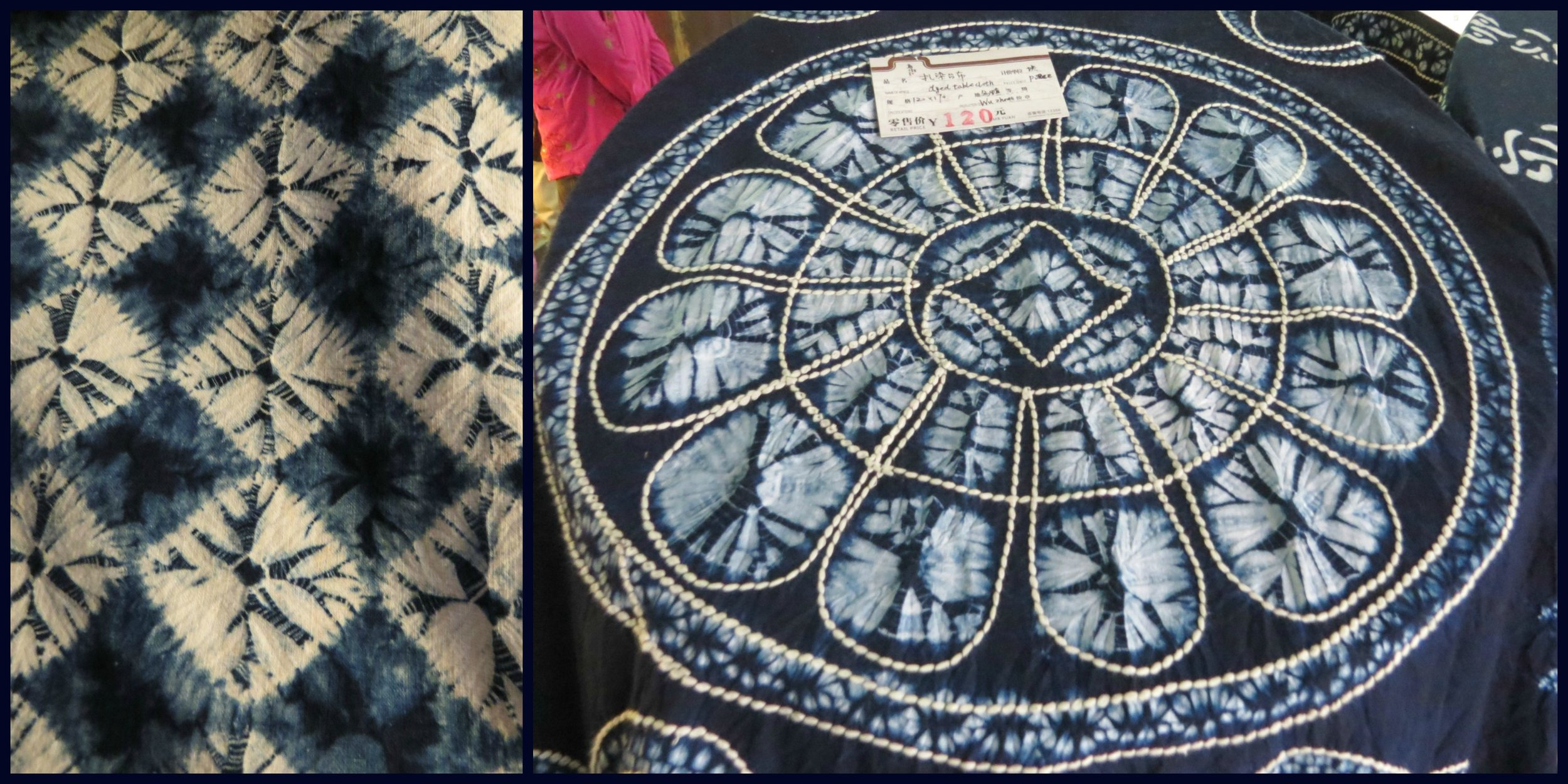 Tie-dye Method, the second photo shows a tablecloth made with the Chinese Ethic style including embroidery embellishment