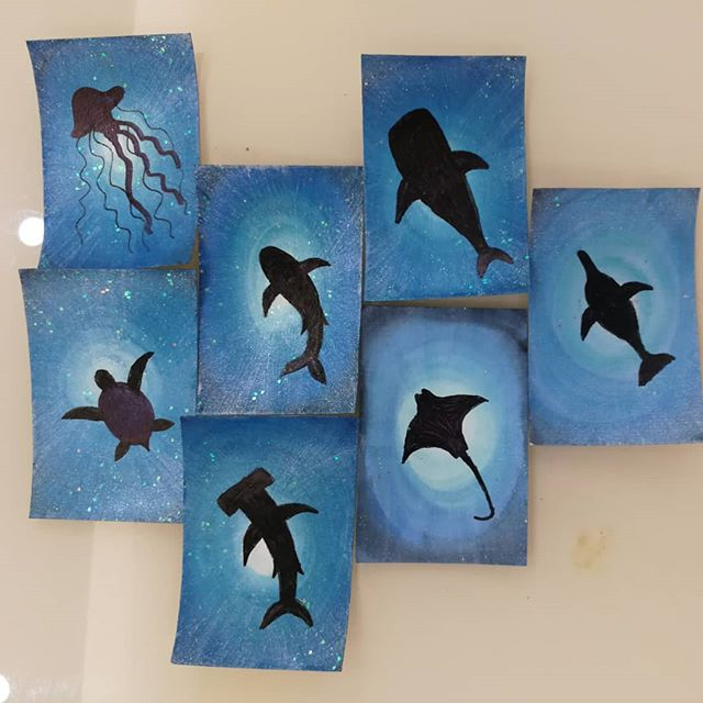 """Undersea Silhouettes"" my new project for #artomat.  I love photos taken from underwater looking up and have loved seeing the sun shine through the surface when I''m below. So, I thought this would be an enjoyable project:-) The paintings are now heading across the ocean on their way to my daughter, who will put them on blocks for me.  Thank you Katelin❤️ #artomatartist #art #underseaart #undersea silhouettes"