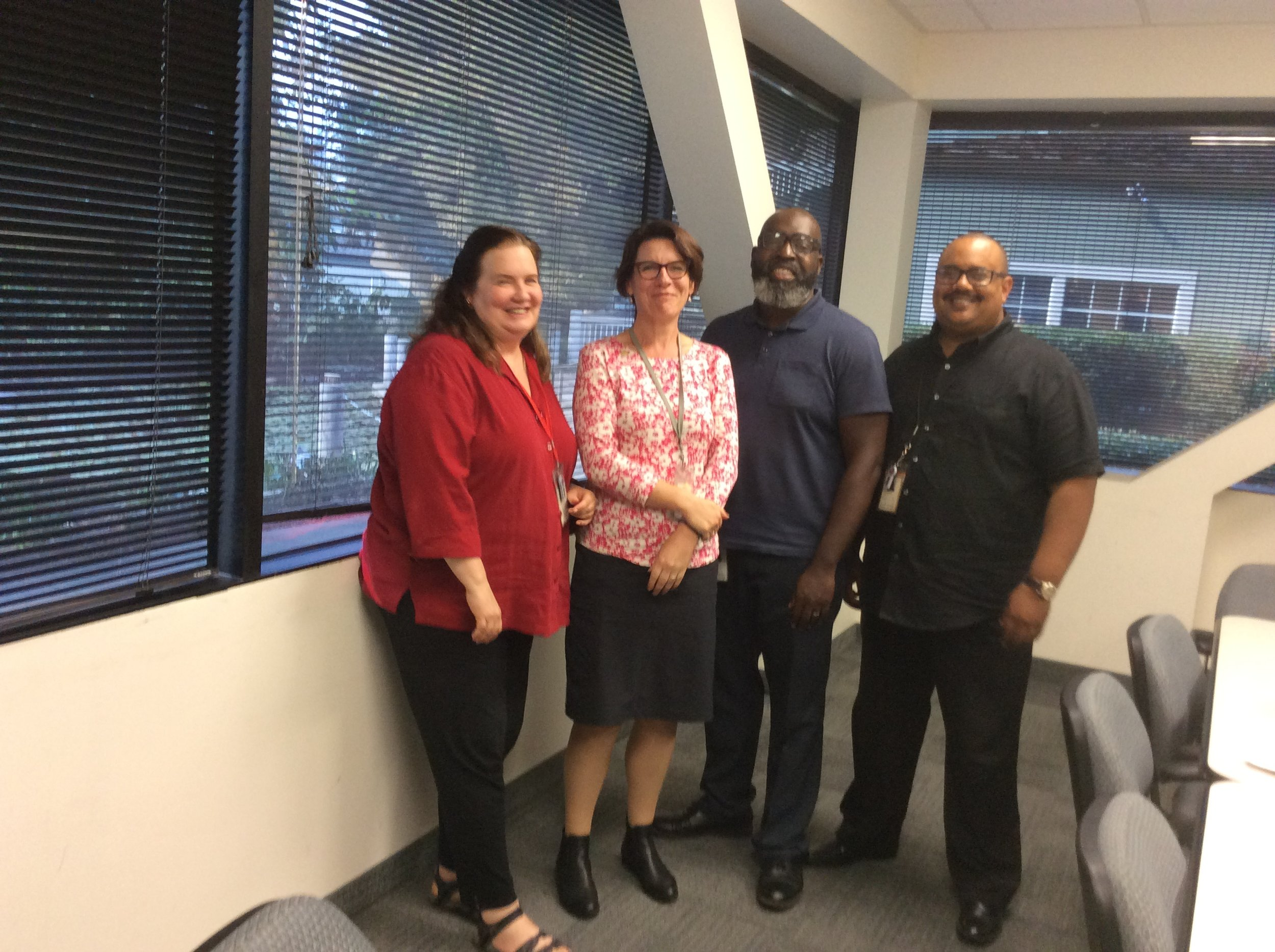 Me with social workers from Contra Costa County who have worked with parent partners to assist families reunify with their children. (Kim, Me, Johnson and Christian)