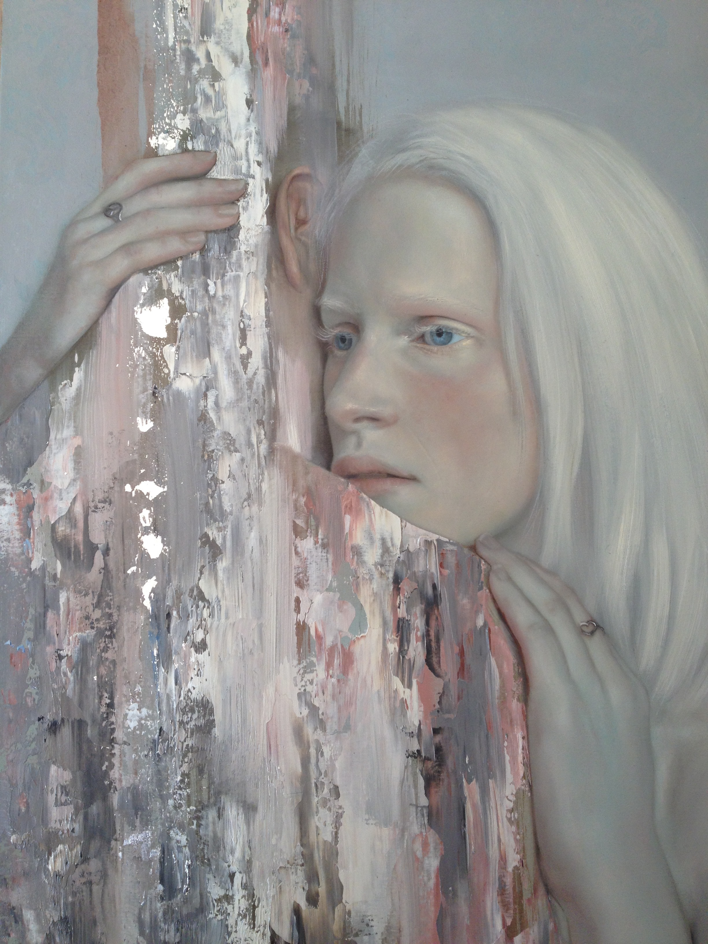 Loveloss ll 2015, oil and silver leaf on board, 400 x 300mm