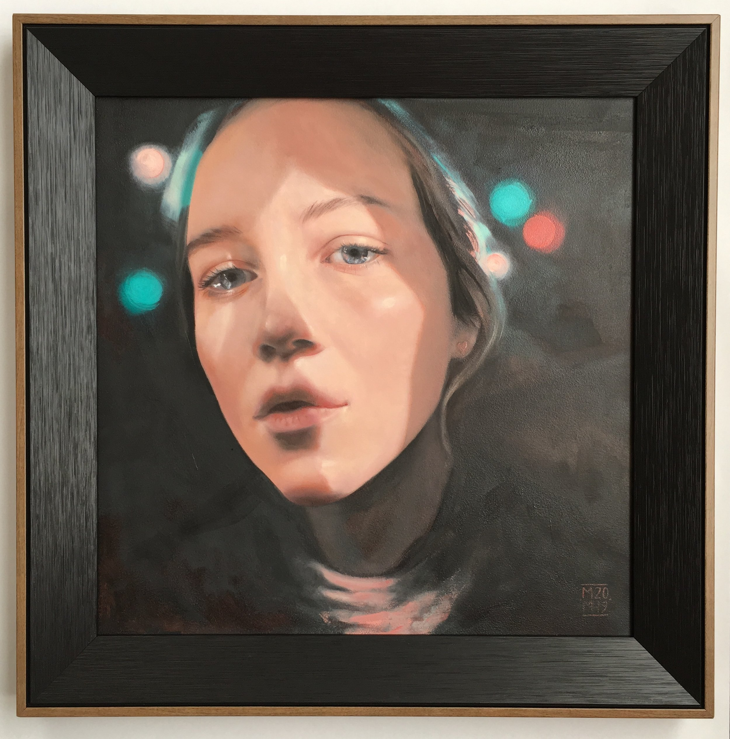 Into The Light 2019  oil on panel  300 x 300mm (390 x 390mm framed size)  NZ$2200