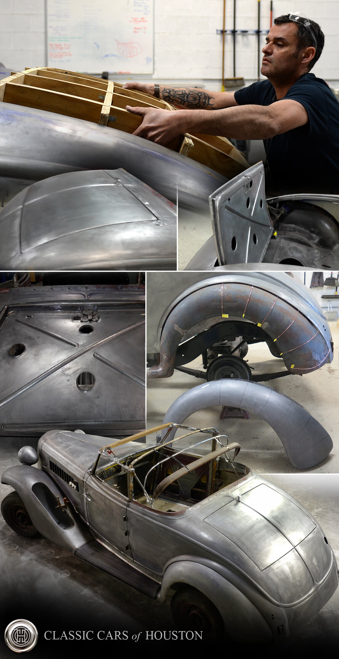 Classic Cars of Houston turns back time by removing years of bondo and lead from old rusted body panels bringing the metal work back to its original state... metal. With our in-house metal craftsmen we can recreate any body panel, frame or part imaginable which is truly becoming a lost art.