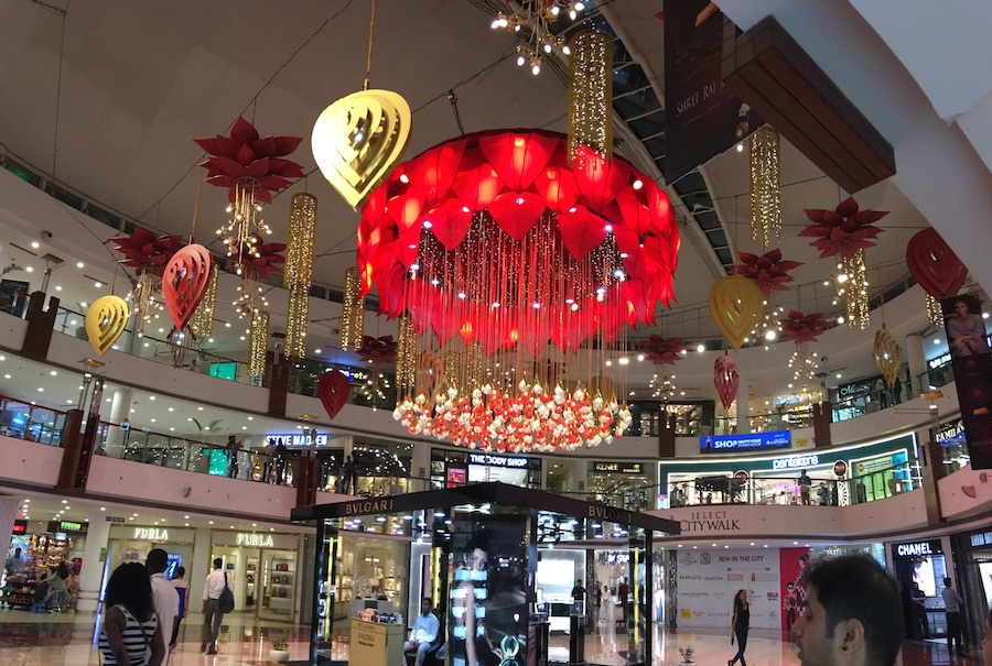 Diwali decorations inside Select Citywalk mall in Saket