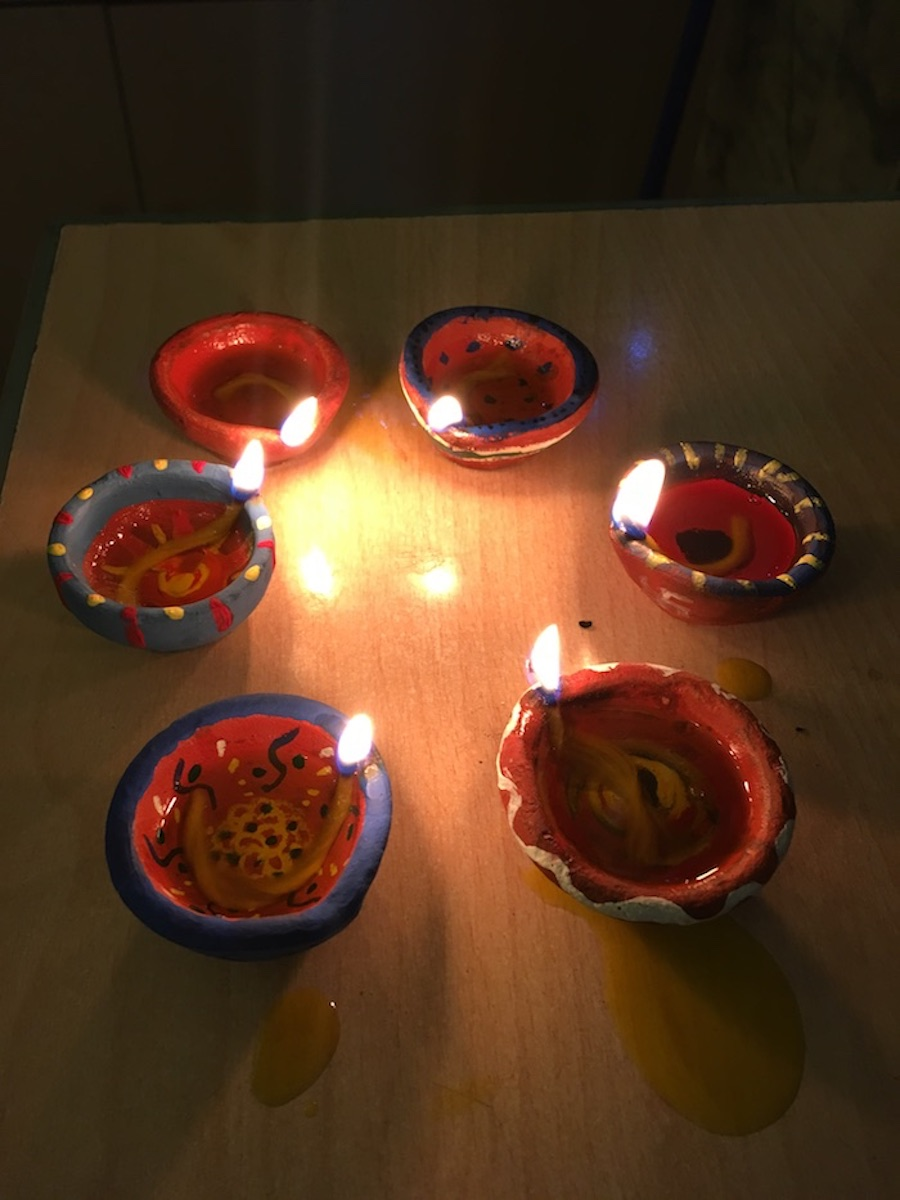 Decorated diyas from our Fulbright/Expat DIY-a Diwali party