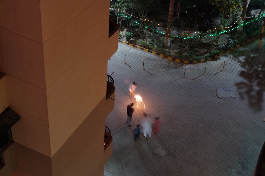 Some rebels with classic Diwali firecrackers: phuljaris  (sparklers), chakris (ground spinners), and  anars  (this fountain-type thing). The Delhi region had a firecracker ban this Diwali due to the incredibly high pollution that followed after last Diwali. Naturually this was not followed.