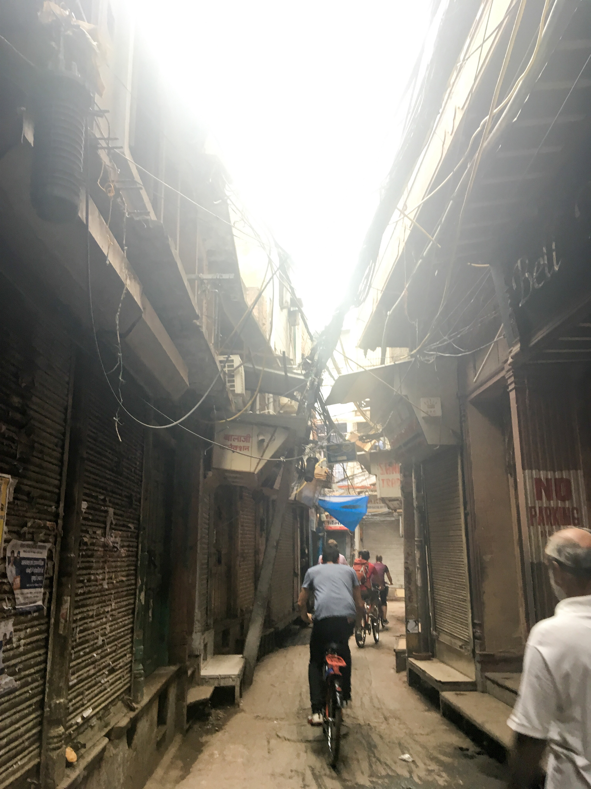 Cycling through the streets of  Chandni Chowk - one of the oldest and busiest markets of Delhi