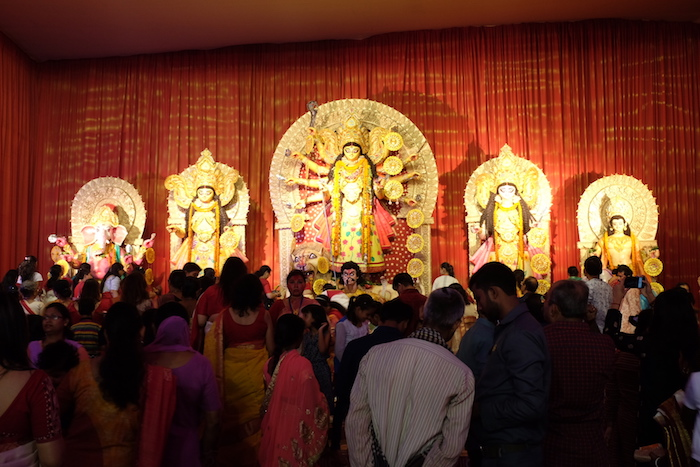 One of many  Durga Pandals - a temporary structure set up during Durga Pujo season -in Chittaranjan Park, Delhi - a predominately Bengali populated area of Delhi. Durga Puja (Pujo in Bengali) is particularly popular in the state of West Bengal.
