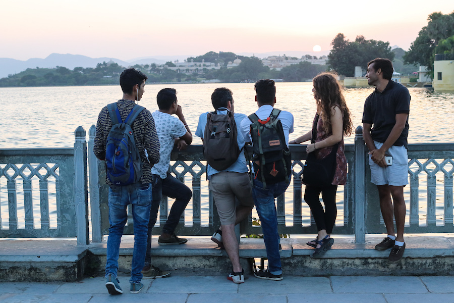 Takin' in the sunset in Udaipur - the city of lakes