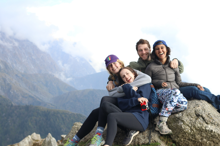 Fulbrighters taking in Triund at 2,850 m (9,350 ft)