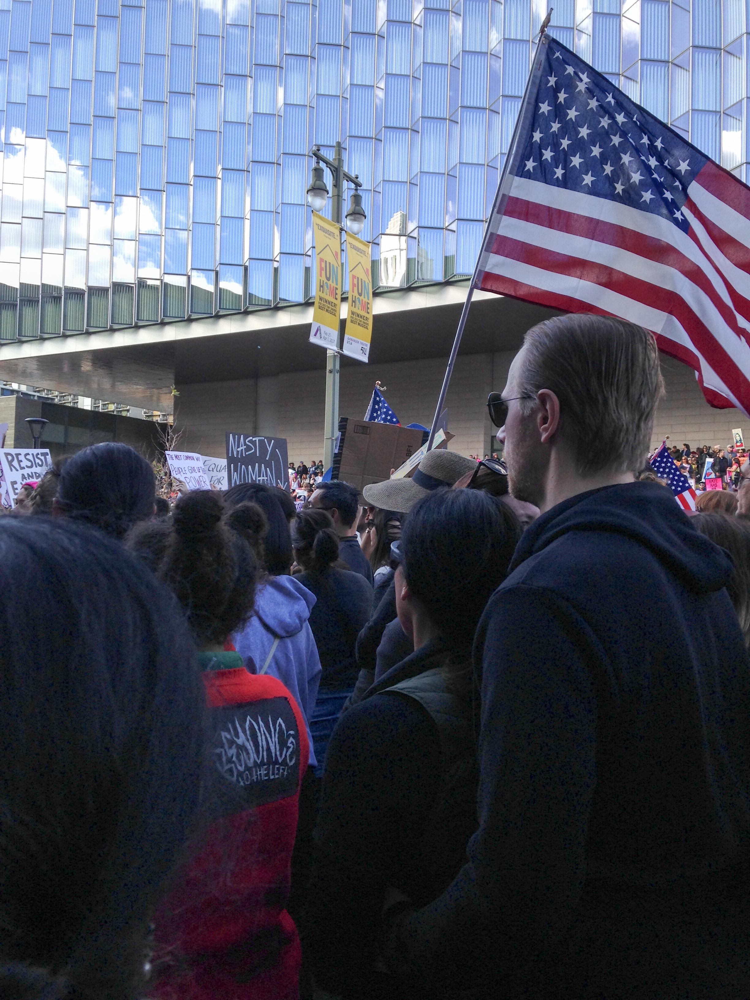 Marching alongside 750,000 in Downtown Los Angeles.