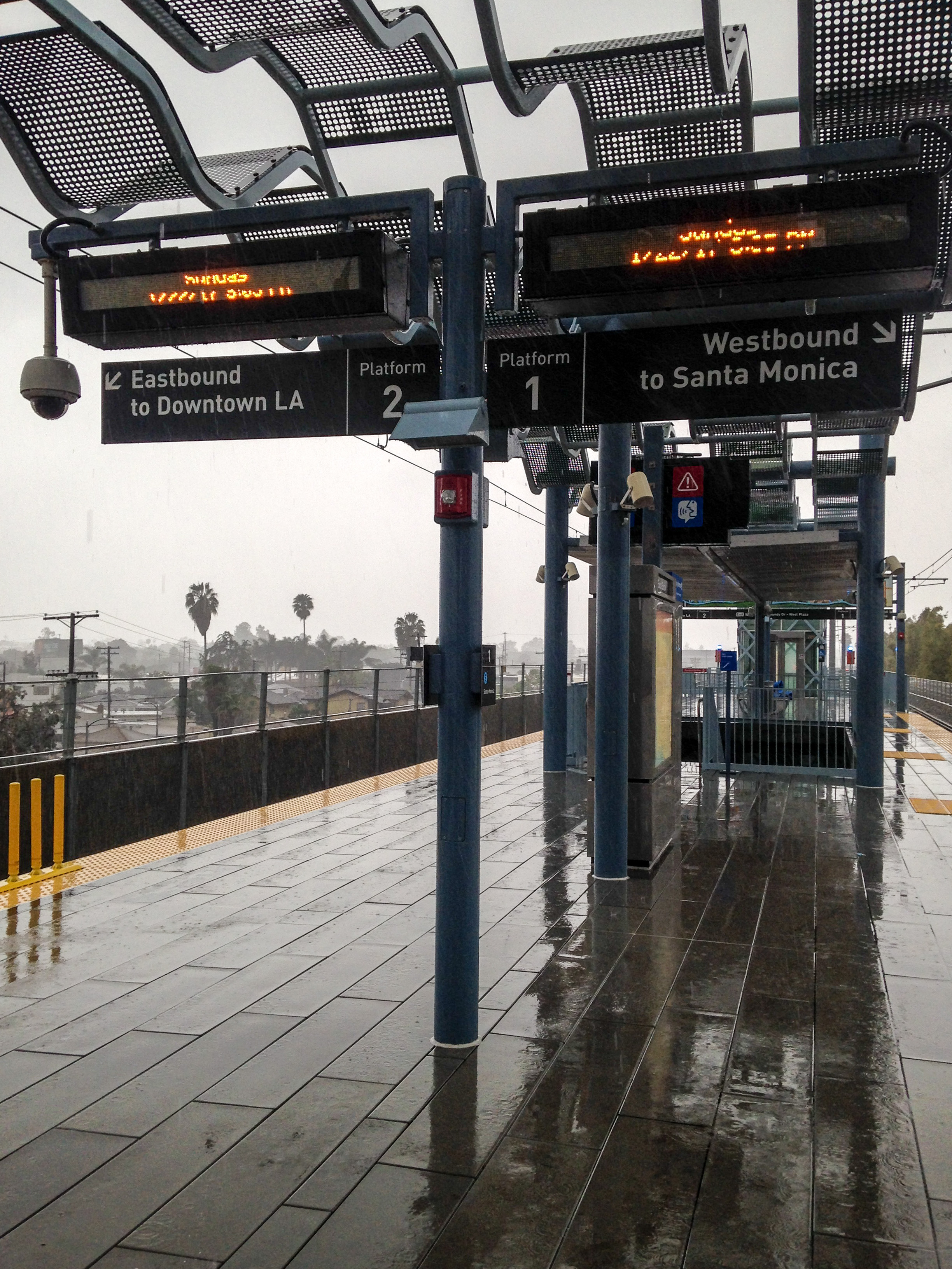 Finally getting to ride the Expo Line Metro from Downtown LA to Santa Monica in heavy downpour. Two very strange things I wish I could have experienced more of when I actually lived in LA.