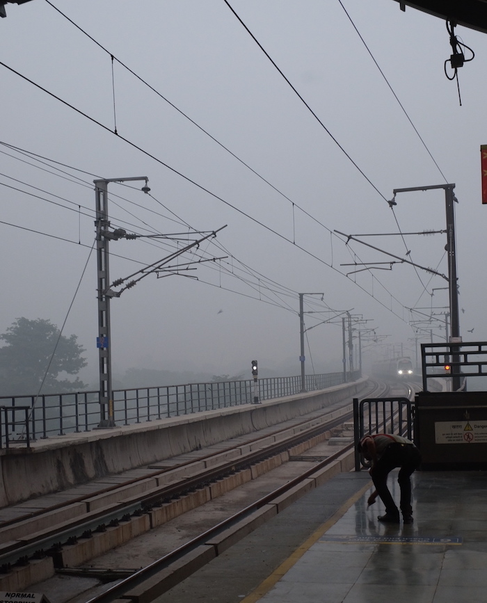 Nehru Place Metro Station during (extra) hazardous pollution peak of 2017.