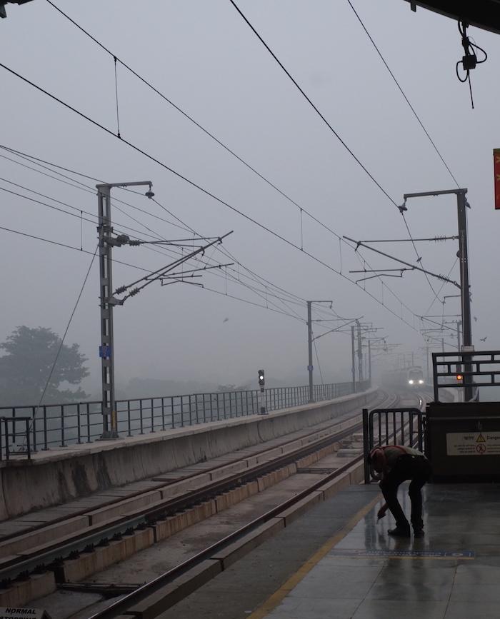 Nehru Place Metro Station during (extra) hazardous pollution peak of 2017.