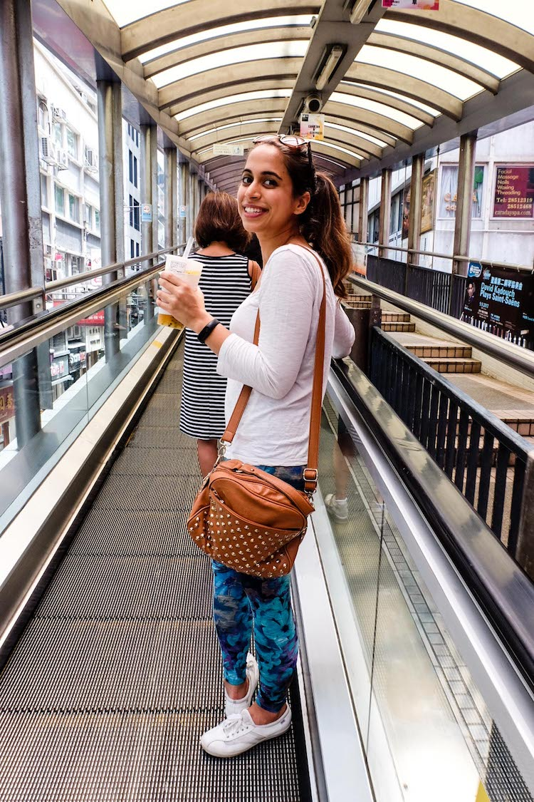Khushbu indulging my tourist requests by riding the Central-Mid-Levels escalator system (the longest outdoor covered escalator system AND it switches directions in the morning and evening!)