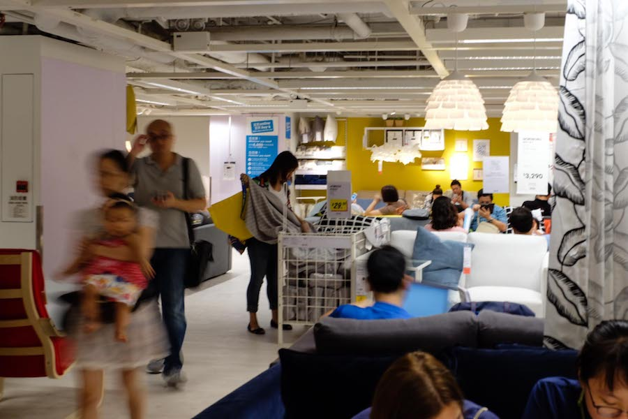 Hopped into IKEA to catch some air conditioning...the rest of HK had the same idea and was camping out on couches and in beds.