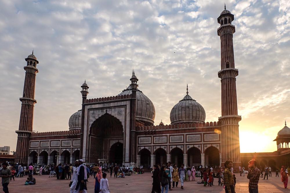 Magic hour at Delhi's Jamia Masjid.
