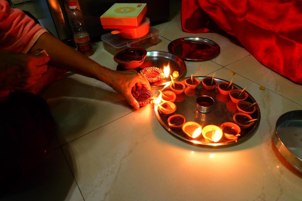 Celebrating Diwali with my Maasi (mom's sister).
