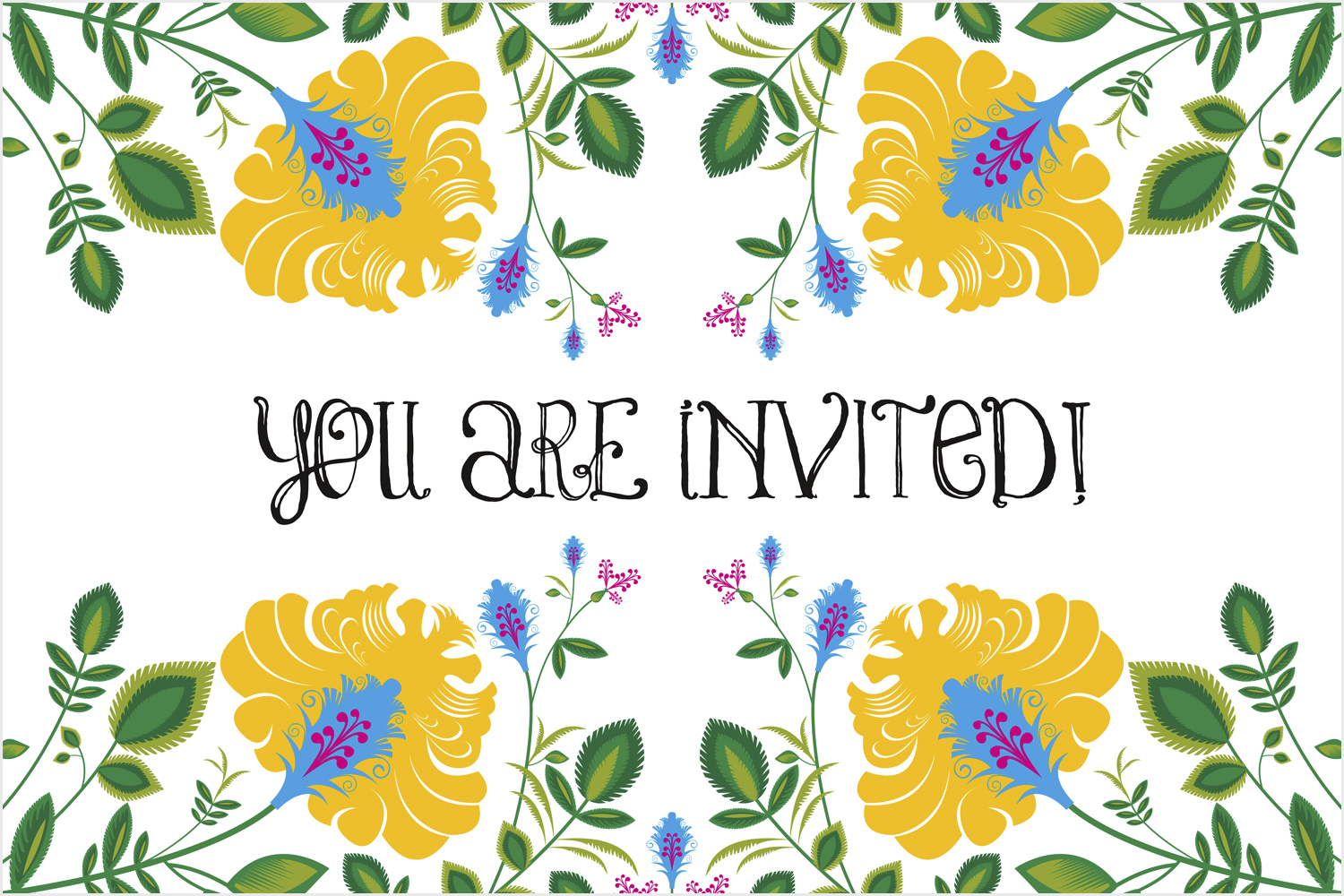 Printable – Botanical Burst Invite (Front)