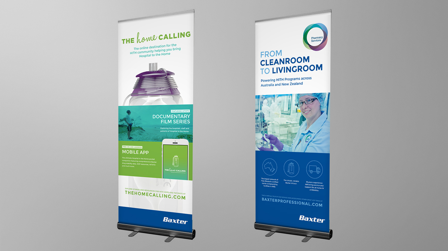 Pull up Banner designs, The Home Calling and Baxter Pharmacy Services