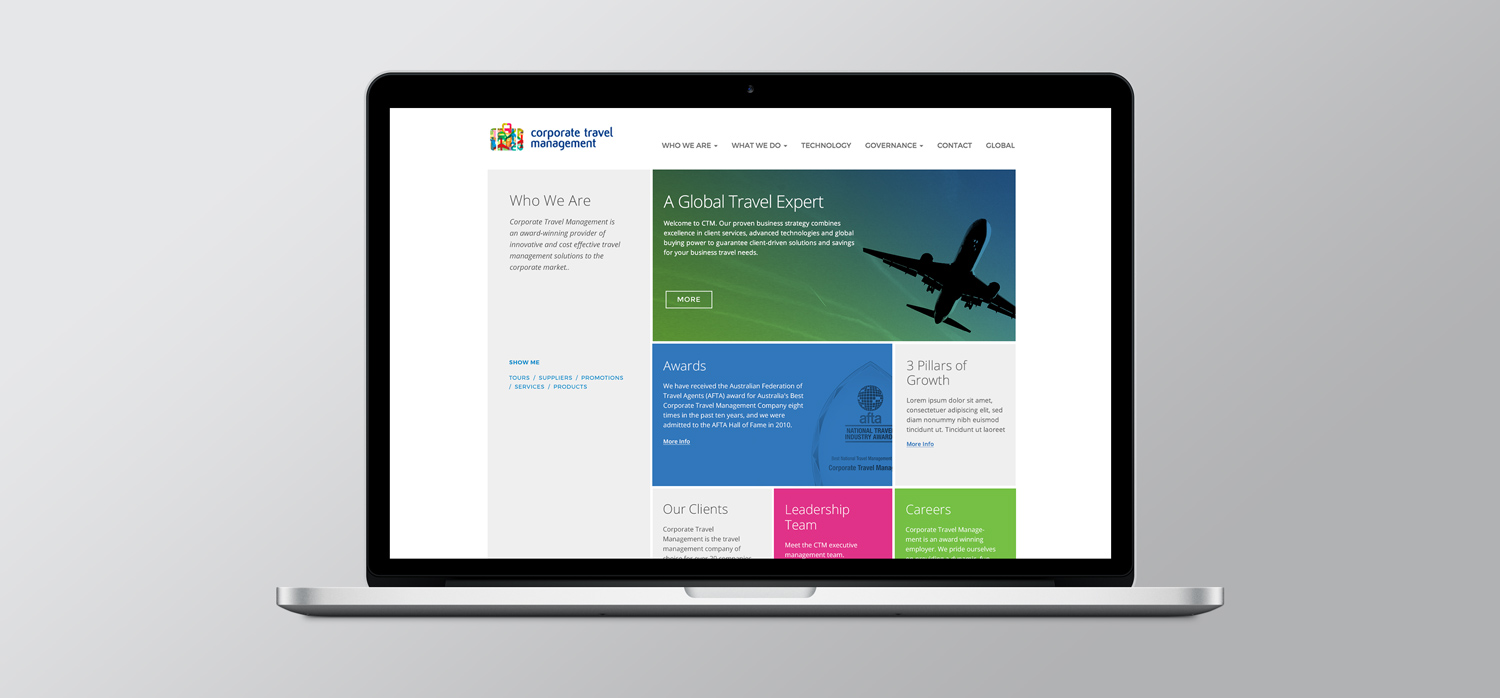 CTM website - example of sub-section landing page