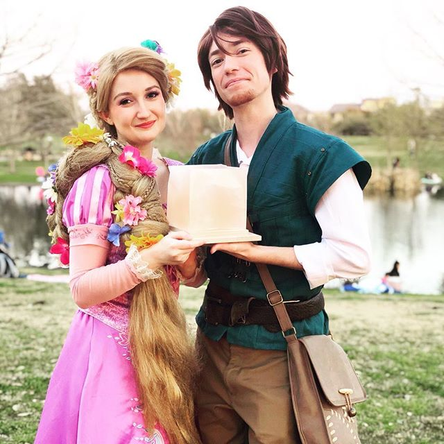 We hope everyone's lantern wishes came true last night at the Austin @waterlanternfestival! #princessentertainment #princessparty #partyperformer #partyprincess #lanternfestival #tangled #disneycosplay #rapunzel #flynnrider #facecharacter #lanternfest #austin #muellerpark