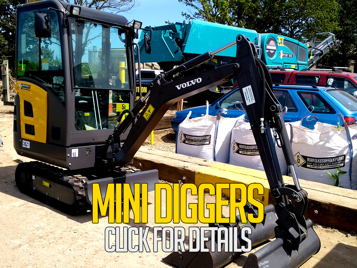 mini diggers for hire