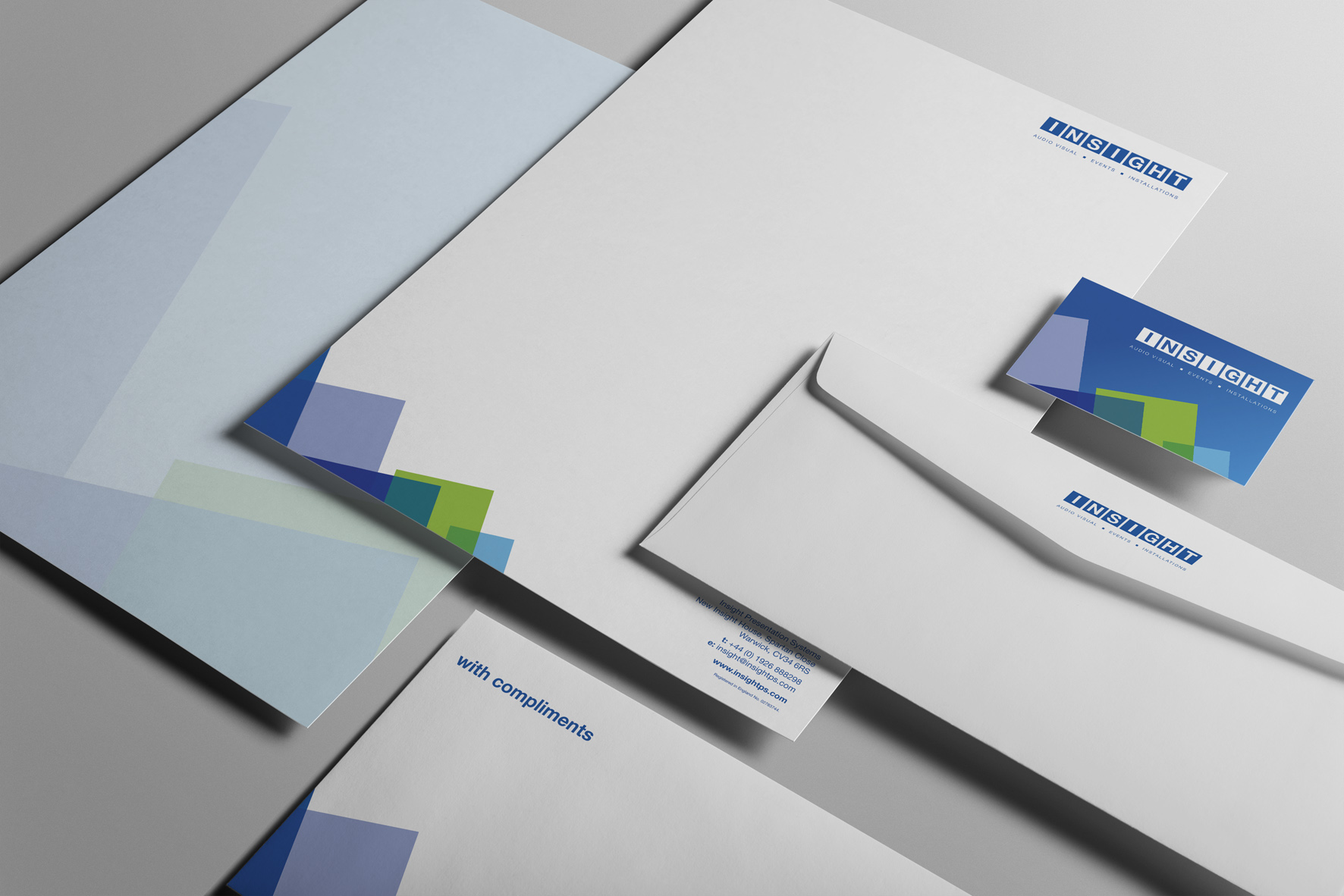 A new company logo design for Insight PS including design and print of new business cards.
